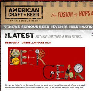 American Craft Beer article about beer tap umbrellas