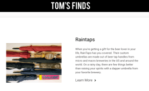 Tom's Finds feature about RainTaps beer tap umbrellas