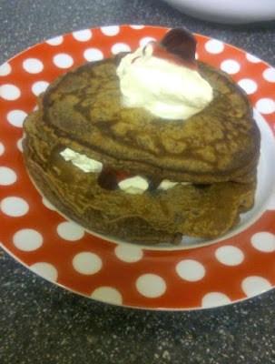 chocolate cherry and cream pancakes