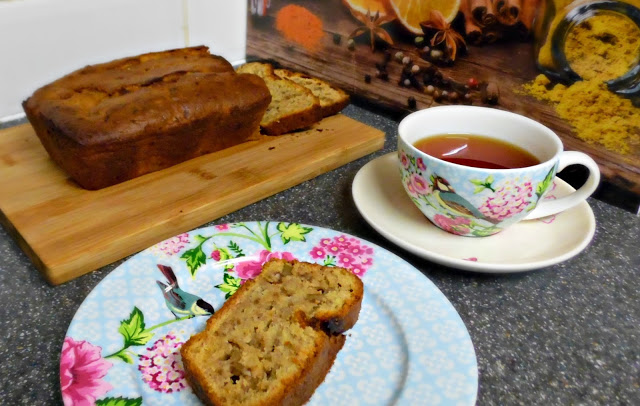 Banana, honey and walnut tea loaf with a cup of tea