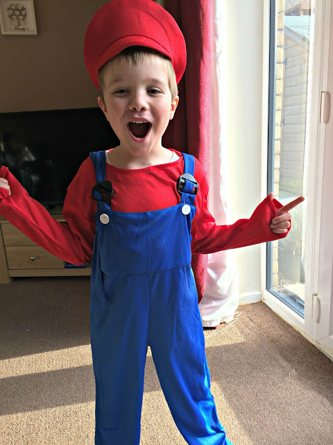 The Litttle Man in his super mario costume for World book Day
