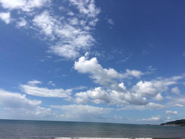the sea on the Dorset coastline under a blue sky
