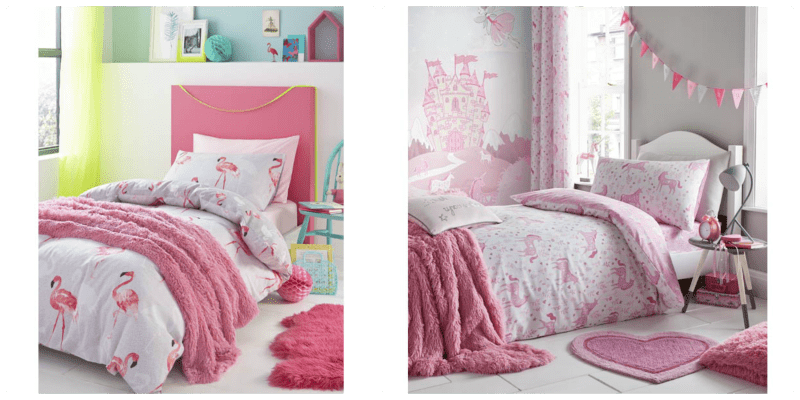 a bed dressed with a pink flamingo bed set, a second bed covered with a pink unicorn bed set