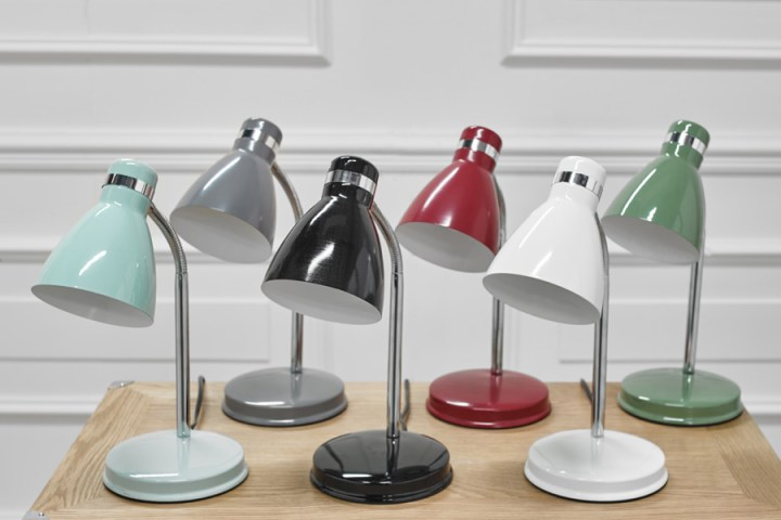 a selections of colourful desk lamps