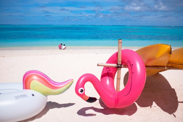 an inflatable pink flamingo hooked on to a canoo rack on the beach with the sea in the distance and two figures bending down by the sea