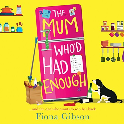 cover art for book, a bright yellow background with shelves of kitchen utensils. A big pink fridge, a dog, two bottles of wine and a bag of groceries.