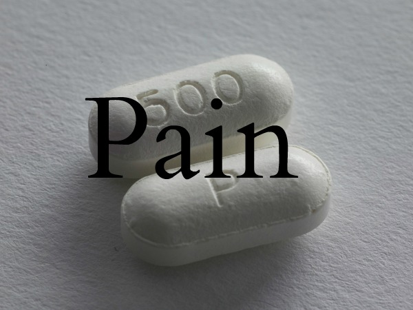 an image of two white pills and the word pain