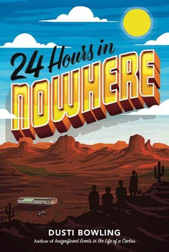 book cover for 24 hours in Nowhere, a desert background with a silhouette of children in foreground
