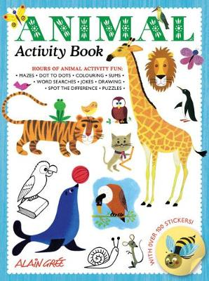 front cover of Animal Activity book with illustrations of several animals including a lion, a tiger, a giraffe and an owl