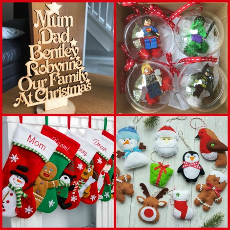 A collage of Christmas decorations from etsy