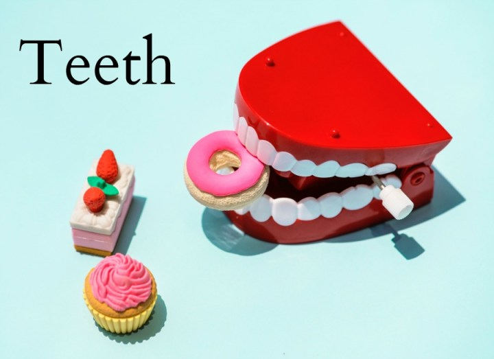 toy false teeth with some pretend cakes