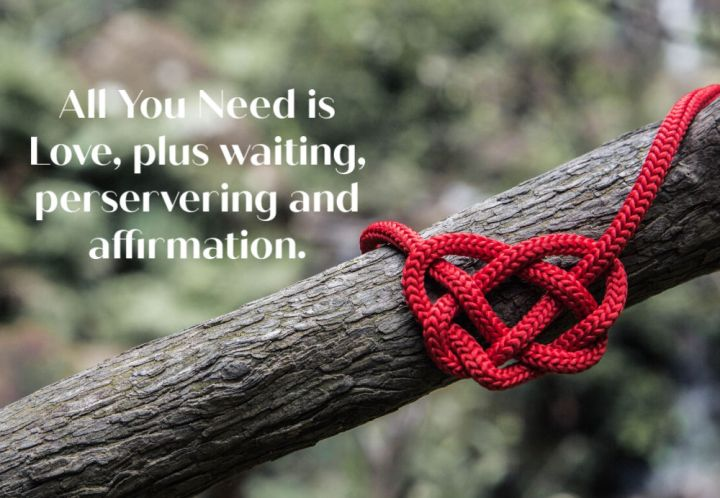 All you need is  love, waiting, perservering and affirmation. A cord heart tied on a branch