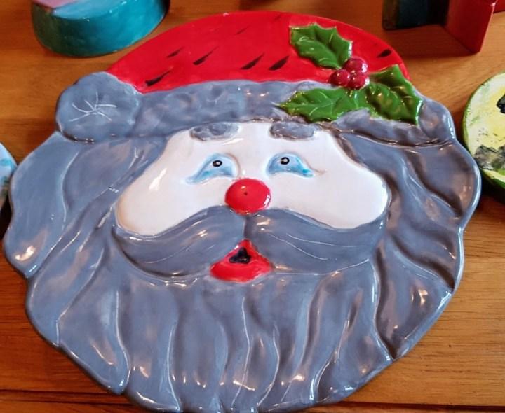 santa pottery plaque
