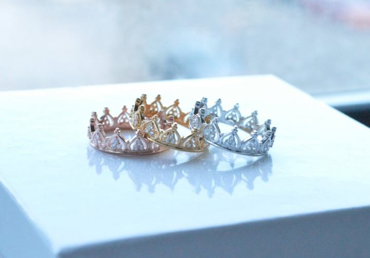 princess crown stackable ring in silver or gold.