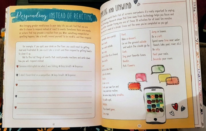 Pages from the book, responding instead of reacting and unplug and unwind