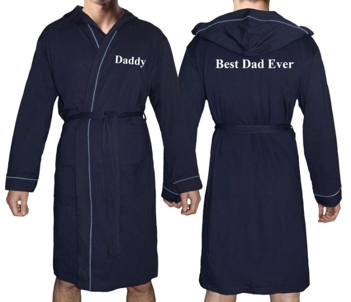 personalised hooded bath robe, saying Daddy on the front and Best Dad Ever on the Back