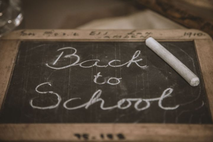 My concerns over going back to school. Image shows a blackboard with the words Back to School on it.