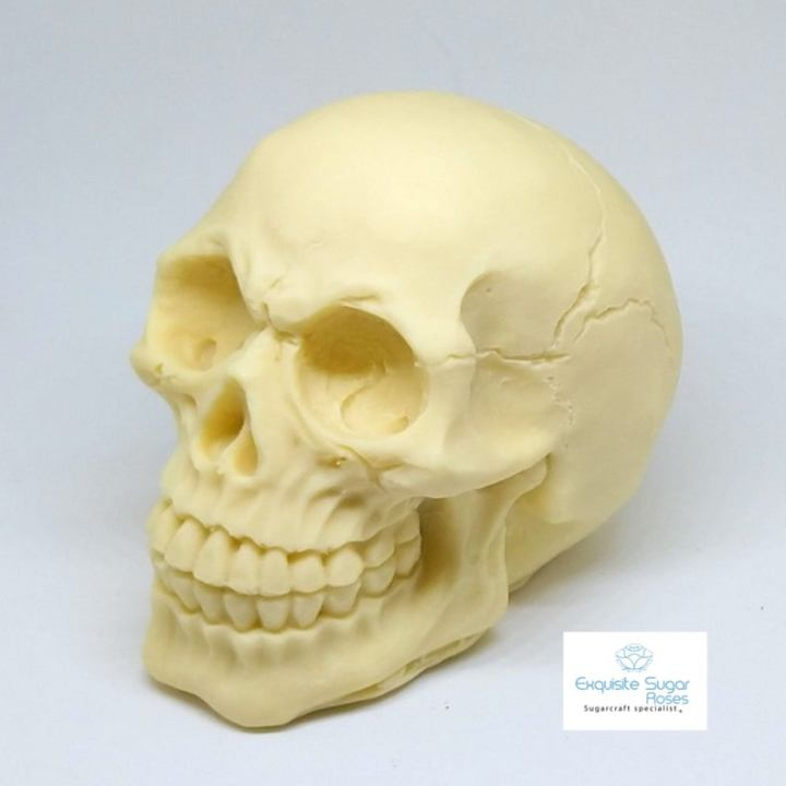 white chocolate skull cake topper