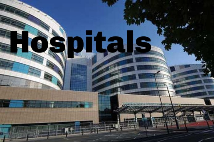 Image of a hospital with the word hospitals across in bold lettering.