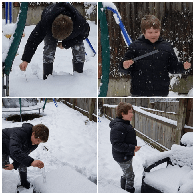four photos of a little boy measuring snow with a ruler