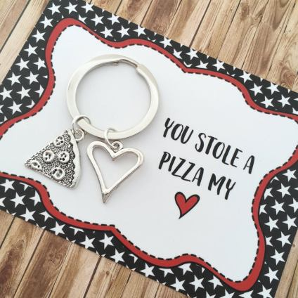 you stole a pizza my heart key ring