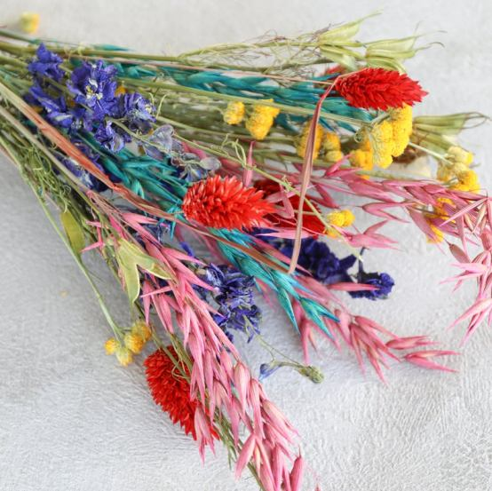 a colourful bouquet of dried flowers