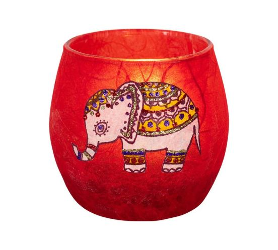 red candle holder decorated with a glittery elephant