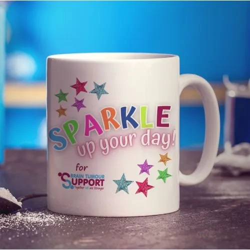 sparkle charity mug in aid of brain tumor support