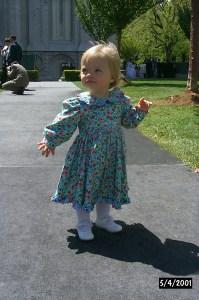 Little Rebecca in dress on temple square