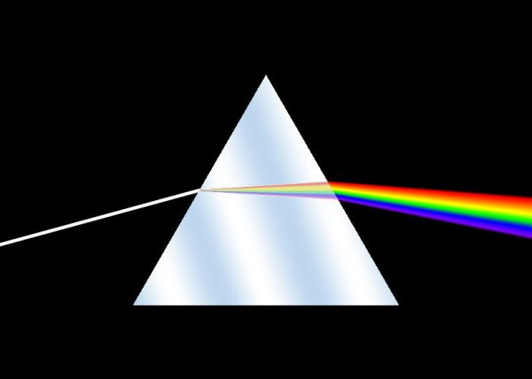 white light coming into a prism with a rainbow coming out