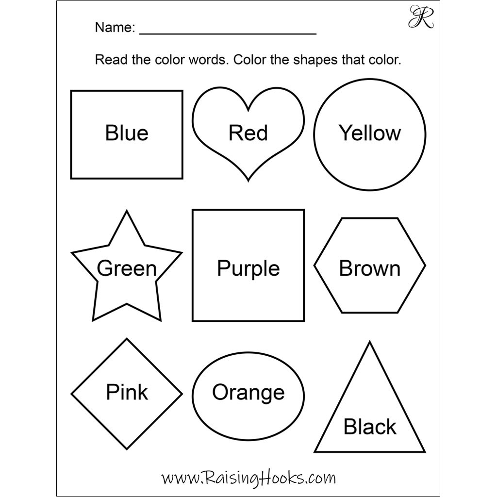 Color Shapes By Word