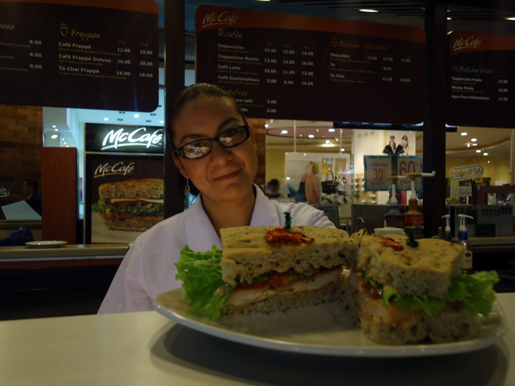Happy McCafe counter girl
