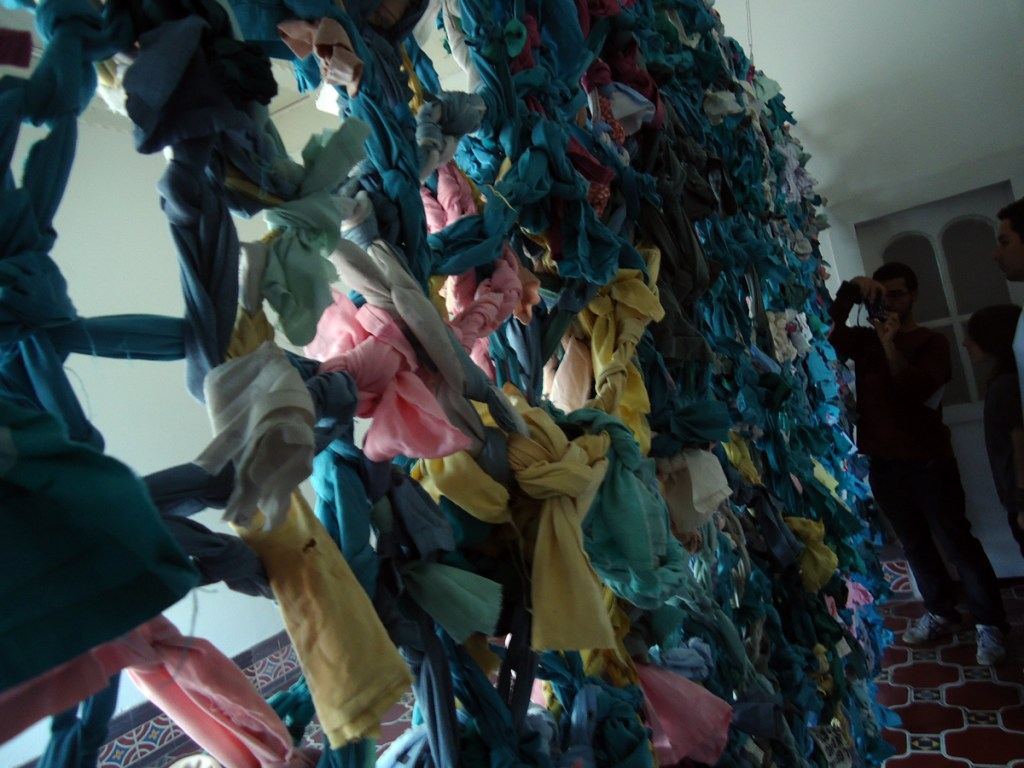 This was a wall made with used hospital gowns.