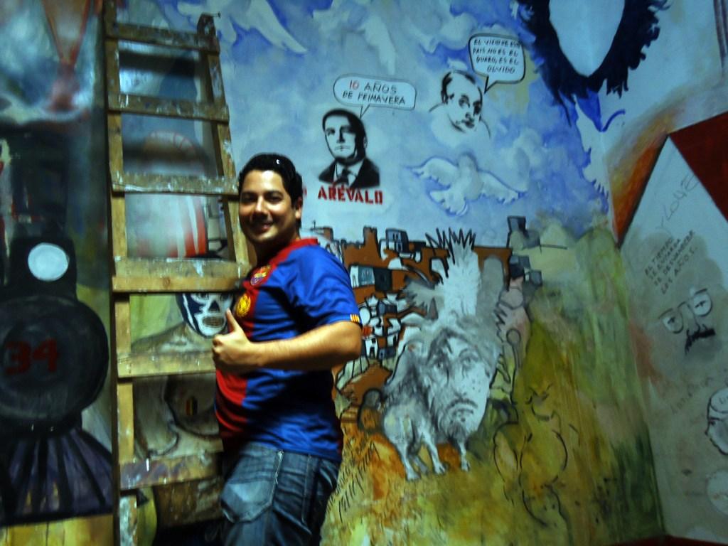 Enjoying the mural