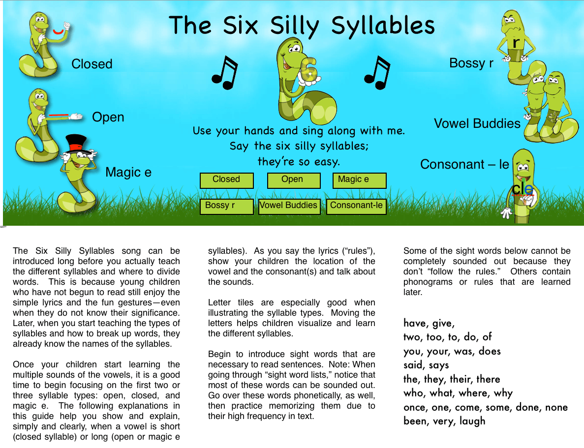 Syllables Worksheets For Kindergarten Free Liry Syllables