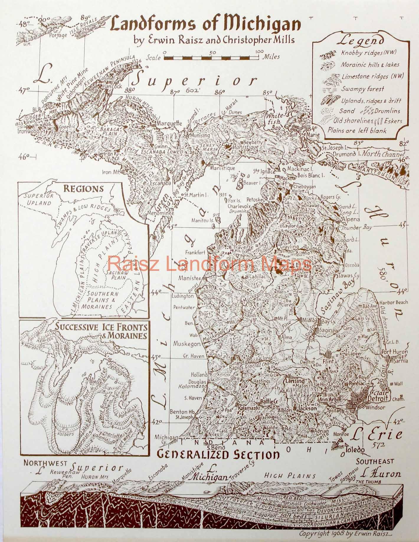 Michigan Raisz Landform Maps