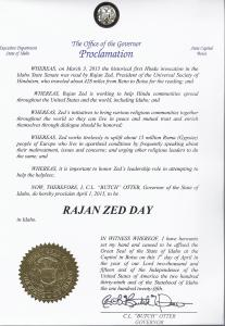 Idaho Governor Otter's proclamation for Rajan Zed.