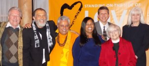 At the Service, from left to right, are—Jim R. Eaglesmith, Leon Williams Smith, Rajan Zed, Patricia Y. Gallimore, Ryan J. Earl, Rebecca Willis and Mary Cooper.