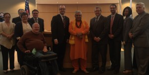 Rajan Zed with Rockford Mayor Lawrence J. Morrissey and other Councilmembers just before its first historic Hindu invocation.