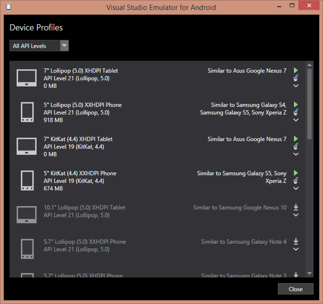 Visual Studio Emulator for Android