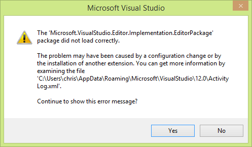 The 'Microsoft.VisualStudio.Editor.Implementation.EditorPackage' package did not load correctly.