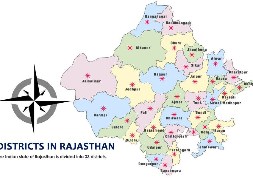 Political Map Of Rajasthan Rajasthan Map   Map of Rajasthan Political Tourism Wildlife Map