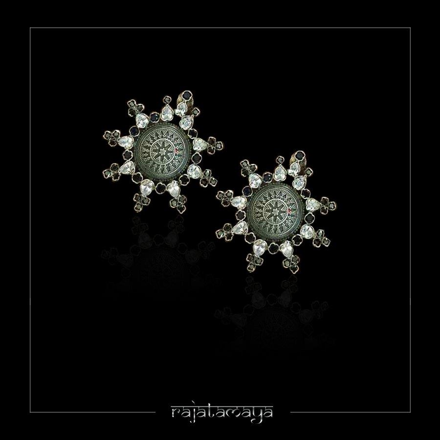 Statement Silver Studs with Gemstones