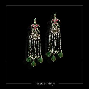 Kempu Earring with Green bead hangings