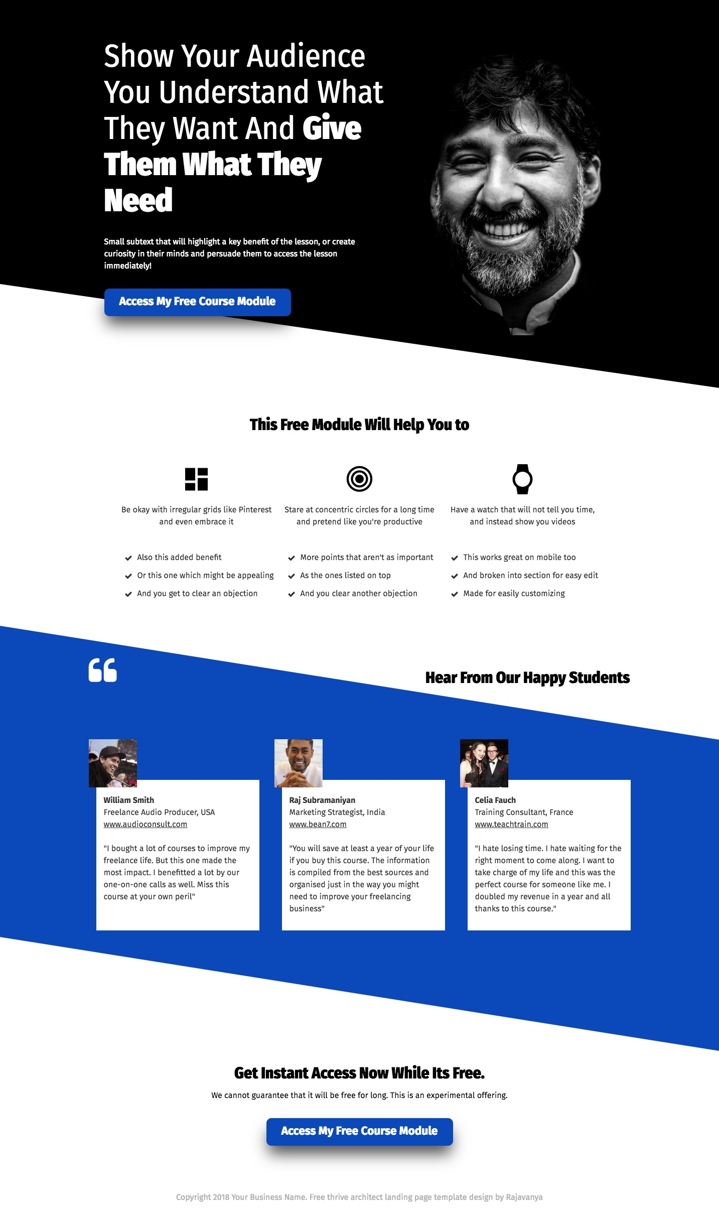 free thrive architect landing page template