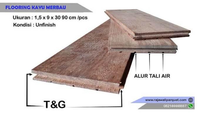 Lantai kayu Merbau Flooring ukuran 1,5 x 9 x 30-90 cm/pcs
