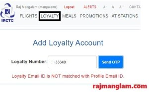 SBI IRCTC Credit Card Loyalty number addition