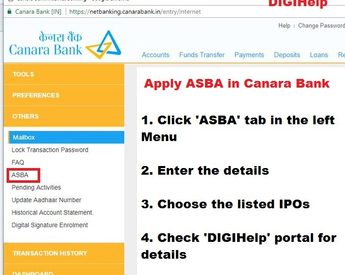 How to Apply ASBA in Canara Bank Online ?