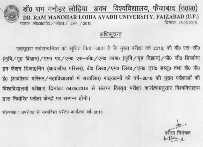 Avadh University Exam Scheme 2018