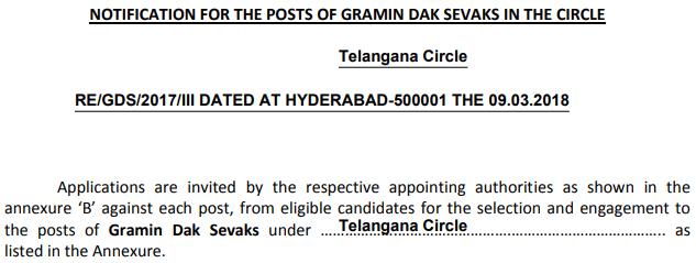 Telangana GDS Recruitment